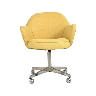 Saarinen For Knoll Desk Chair On Swivel Base In Yellow Woven Microfiber