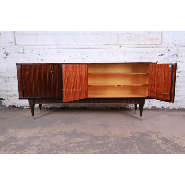 Wood French Art Deco Macassar Ebony Credenza or Bar Cabinet by N.F. Ameublement, 1966 For Sale - Image 7 of 13