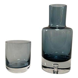 1980s Vintage Scandinavian Modern Minimalist Bedside Carafe & Water Glass- A Pair For Sale