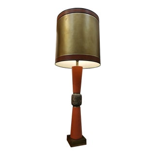Leather and Brass Large-Scale Table Lamp For Sale