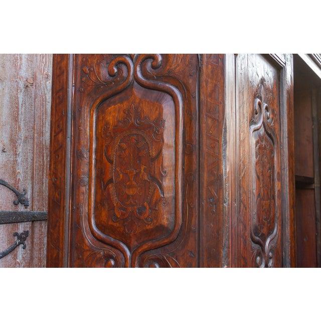 """Brown Antique Basque """"Fleur De Lis"""" Marquetry Armoire For Sale - Image 8 of 11"""