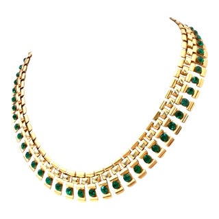 20th Century Gold Plate & Emerald Austrian Crystal Link Choker Style Necklace For Sale