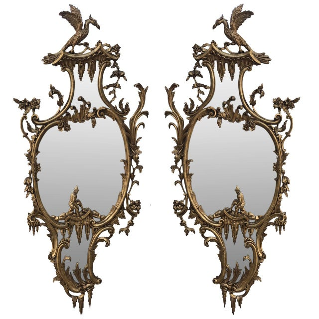 Mid 20th Century Vintage Mid-Century Chinese Chippendale Style Gilt-Wood Mirrors - A Pair For Sale - Image 5 of 5