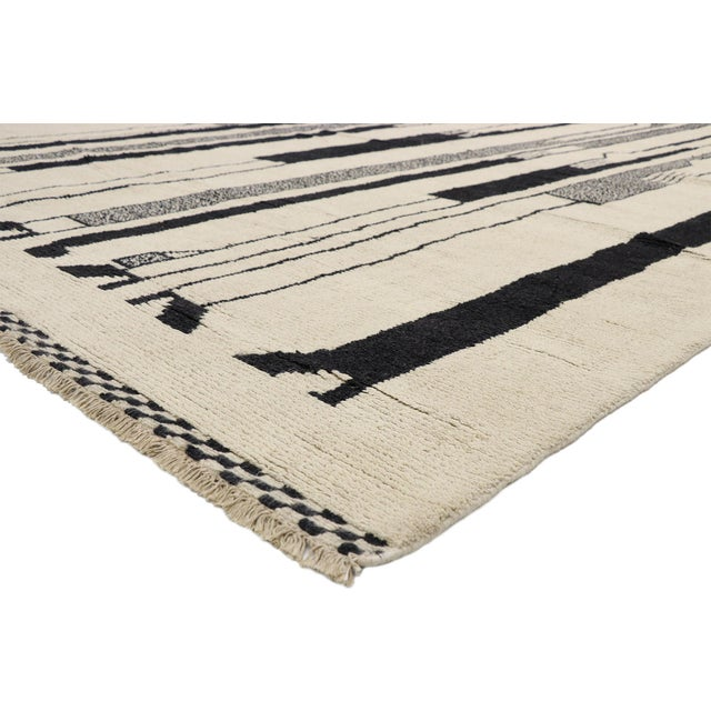 80531 Contemporary Moroccan Rug Inspired by Alberto Giacometti Dogon Tribe 10'00 x 13'08. This hand knotted wool...