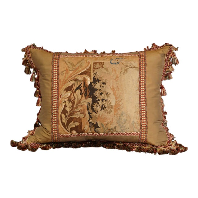 Handmade French Pillow With 19th Century Aubusson Verdure Tapestry Fragment For Sale