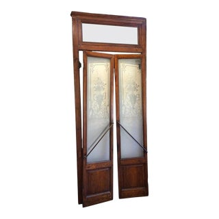 Pair of Belle Époque French Acid Etched Bistro Doors & Transom, Paris For Sale
