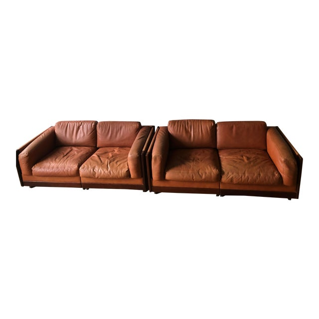 Mid Century Modern Tobia and Afra Scarpa for Gavina 920 Italian Leather Rosewood Sofas - a Pair For Sale