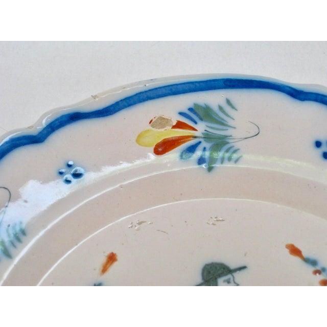 Henriot Quimper Antique Henriot Quimper Pottery Plate For Sale - Image 4 of 5