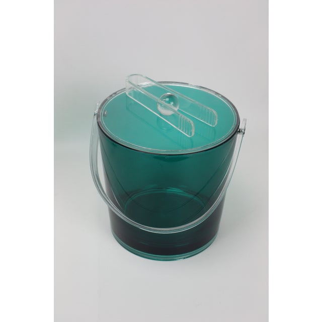 Vintage Lucite Ice Bucket & Pitcher, Green/Clear For Sale - Image 4 of 5