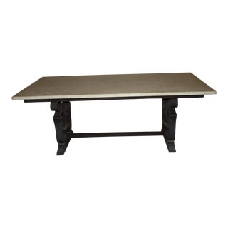 19th Century French Marble Top Dining Table With Wrought Iron Base For Sale