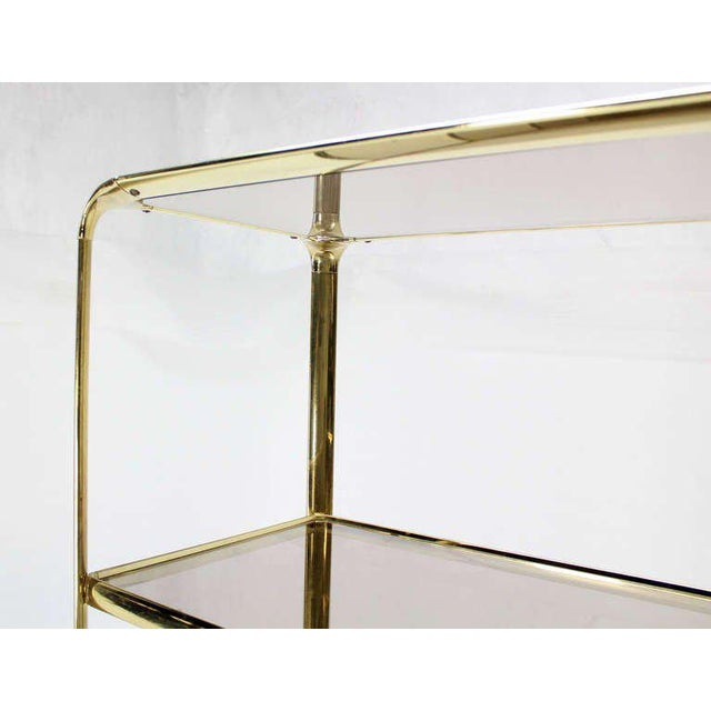 Mid Century Modern Five Tier Brass and Smoked Glass Etagere Shelving Unit - Image 8 of 10