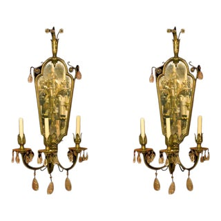 Etched American Mirrored Bronze Sconces - A Pair For Sale