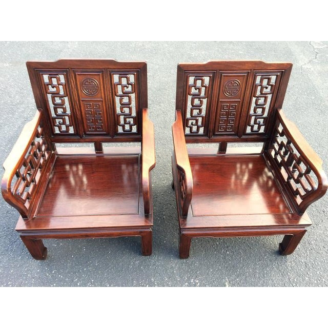 1950s Antique Carved Chinese Chippendale Rosewood Chairs - a Pair For Sale  - Image 5 of - Antique Carved Chinese Chippendale Rosewood Chairs - A Pair Chairish