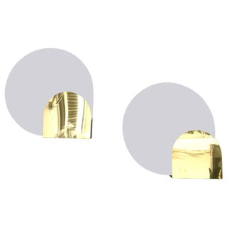 Lacquered Metal and Brass Sconces by Pia Guidetti Crippa for Lumi, Italy, 1980s - A Pair For Sale