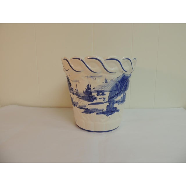 Vintage Blue & White Hand-Painted Ceramic Planter - Image 2 of 6