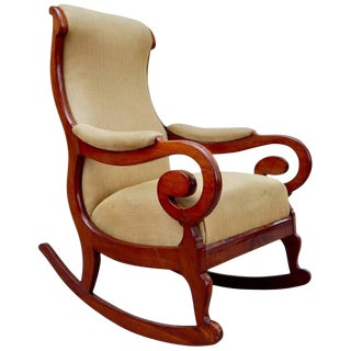 19th Century Antique Swedish Biedermeier Rocking Chair For Sale