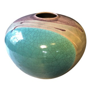 Tom Evans Raku Pottery Vase For Sale