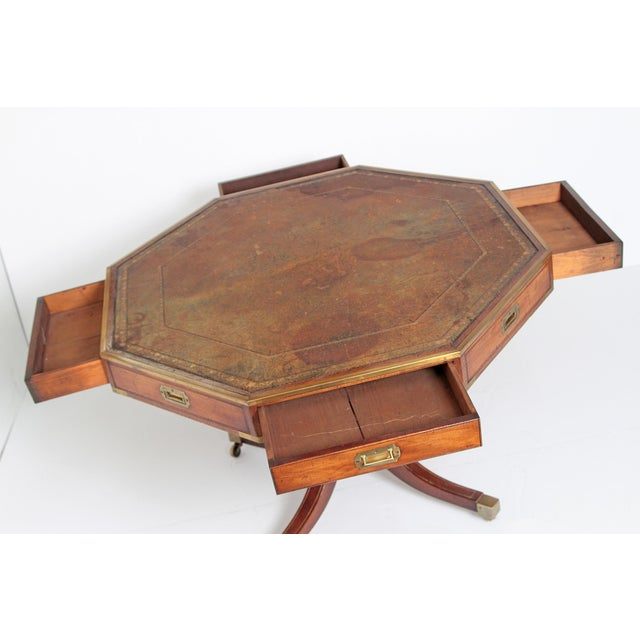 Animal Skin English Regency Drum Table With Campaign-Style Hardware / Filttings For Sale - Image 7 of 12