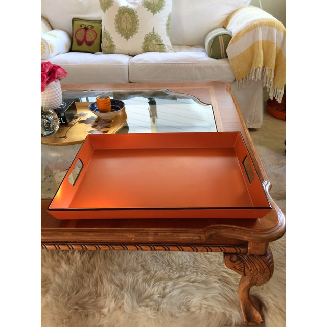 Mid Century Modern Orange and Espresso Bar Tray For Sale In Denver - Image 6 of 13