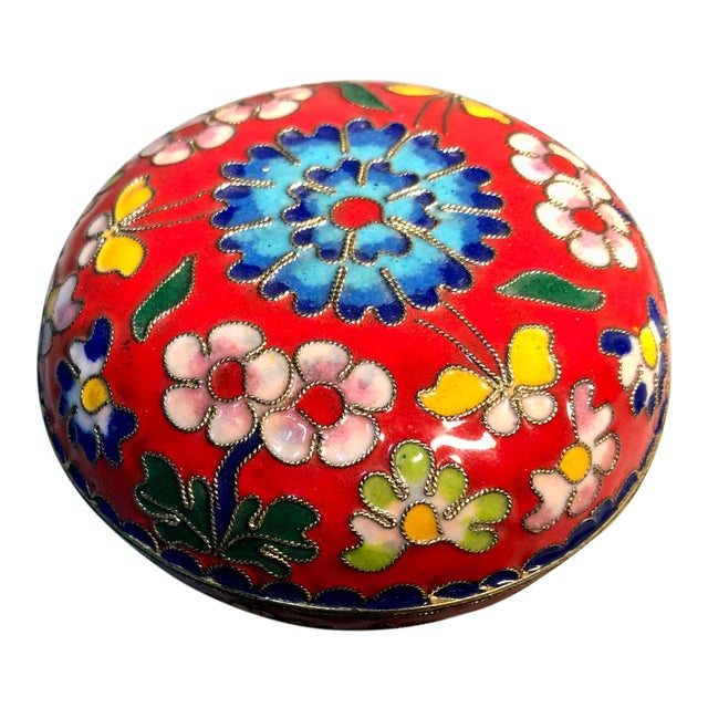 1960s Chinese Cloisonne Enameled Round Box For Sale