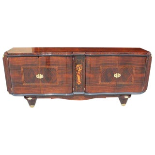 Beautiful French Art Deco Rosewood Sideboard / Buffet Style of Jules Leleu Circa 1940s