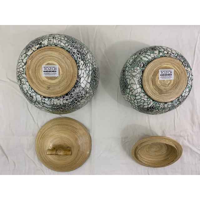 Wood Silver/Green Eggshell & Bamboo Lacquered Covered Boxes - a Pair For Sale - Image 7 of 10
