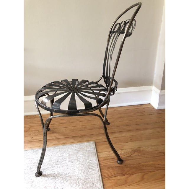 Black Metal Antique French Cafe' Chairs - a Pair For Sale - Image 4 of 8