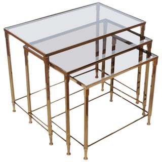 Mid-Century French Brass Nesting Tables - Set of 3 For Sale