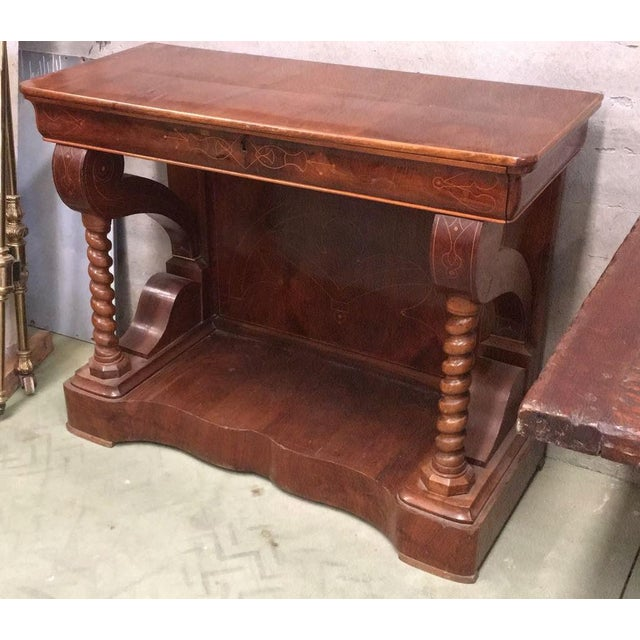 1900 - 1909 20th Century Biedermeier Style Marquetry Spanish Console Table With Drawer For Sale - Image 5 of 10