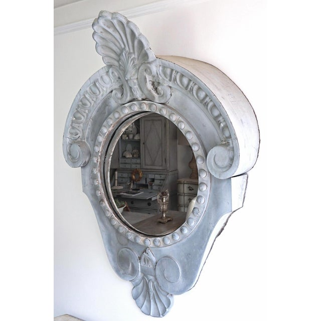 Belle Epoque Magnificent Oeil De Boeuf Mirror From the Old Courthouse in Antwerp Dated 1871 For Sale - Image 3 of 8