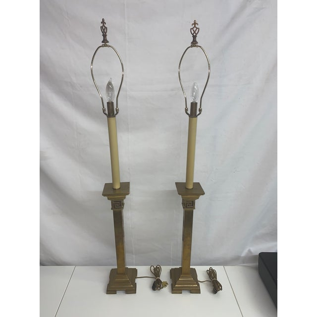 These pair of brass lamps with a square base are gorgeous and would be a great addition to any room. Very elegant with a...
