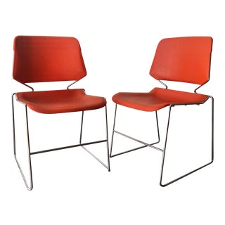 Vintage Mid Century Modern Matrix Krueger Stackable Chairs- Set of Two. For Sale
