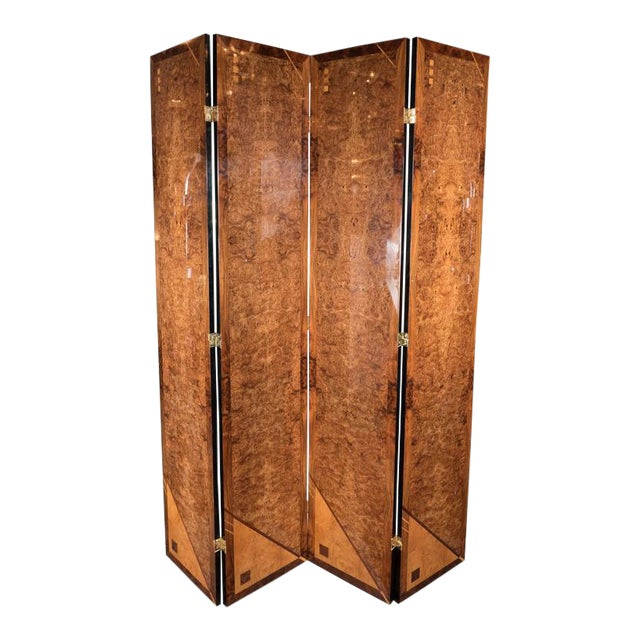 Art Deco Style Four Panel Screen in Burled Carpathian Elm with Geometric Shapes For Sale