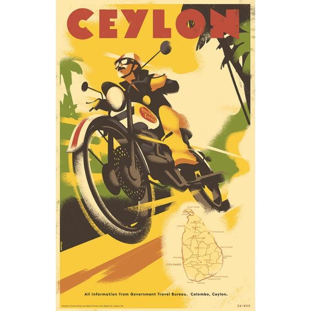 Retro Travel Poster, Travel Ceylon W/Royal Enfield - Image 1 of 2