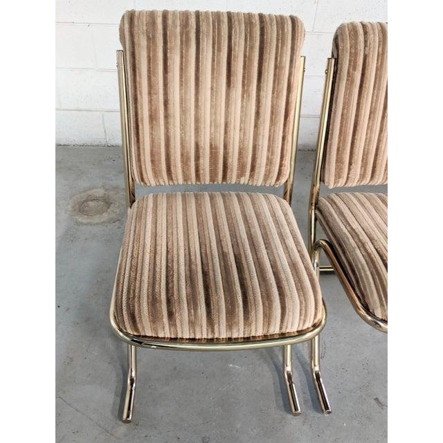 1970s Chromcraft Velvet & Brass Dining Chairs- Set of 4 For Sale In Chicago - Image 6 of 12