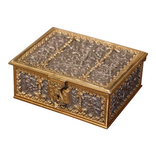 19th Century French Bronze Doré and Pewter Jewelry Box With Putti Decor For Sale