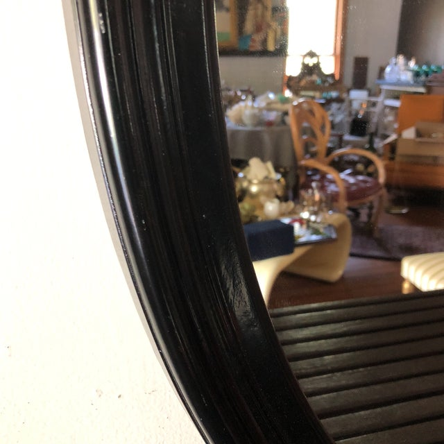 Traditional 1980s Traditional Black Wooden Oval Mirror For Sale - Image 3 of 4