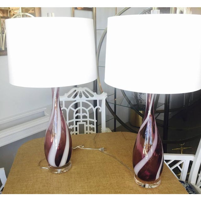 Vintage Murano Glass Italian Table Lamps, 1950s - A Pair For Sale - Image 10 of 11