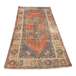 1960s Vintage Turkish Hand-Knotted Area Rug - 3′8″ × 7′3″ For Sale