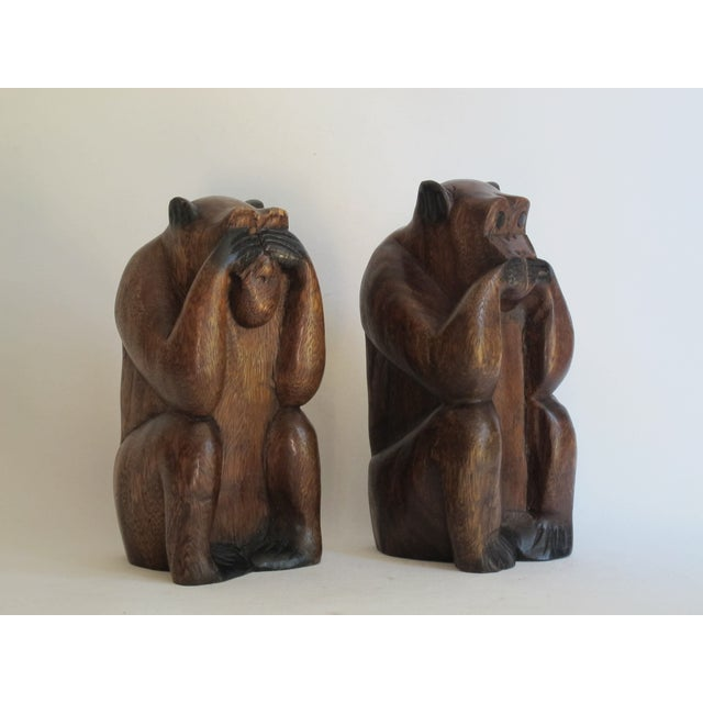 Wooden Monkeys - Pair - Image 6 of 8