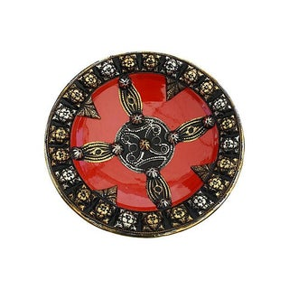Brass & Silver Inlay Wall Plate For Sale