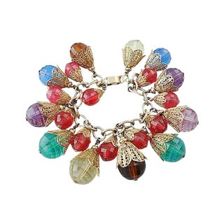 Napier Book Piece Faceted Charm Bracelet For Sale