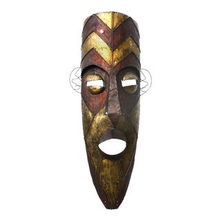 Monumental Brutalist Torch-Cut Mixed-Metal Mask For Sale