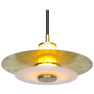 Klein Pendant With Milk Glass and Etched Polished Satin Brass For Sale