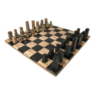 Vintage Onyx Chess and Checkers Set For Sale