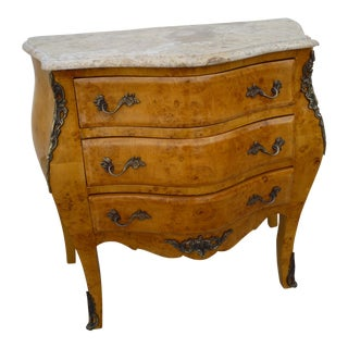 Louis XV-Styled Travertine Top Commode Chest For Sale
