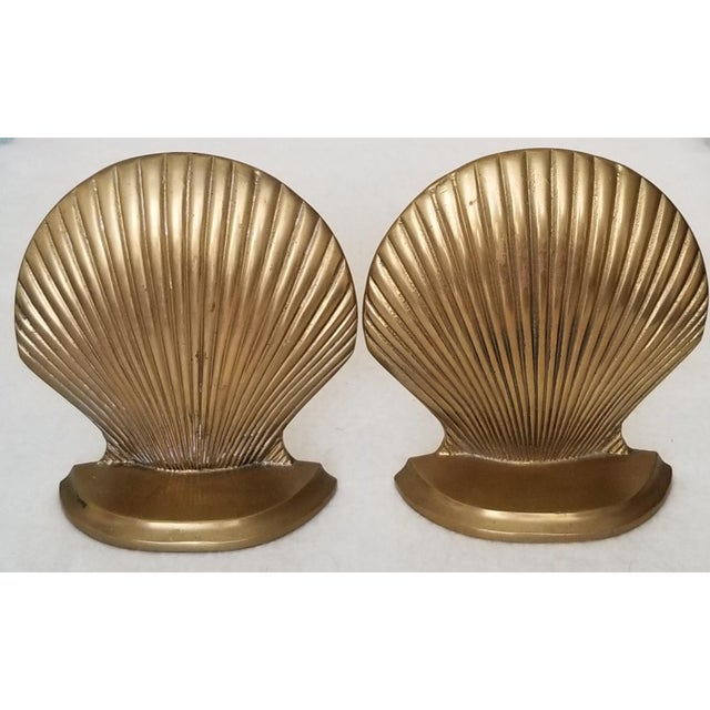 Mid 20th Century Vintage Brass Clam Shell Bookends - a Pair For Sale - Image 5 of 6