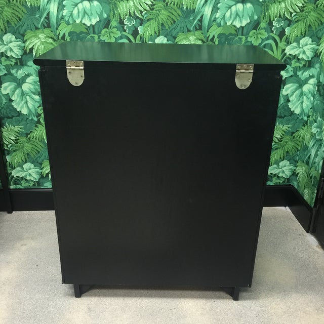 Hollywood Regency Faux Bamboo Bar Cabinet For Sale - Image 3 of 8
