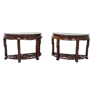 19th Century Chinese Demi Lune Tables - a Pair