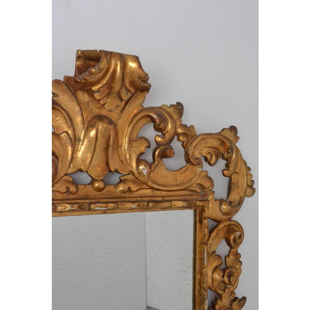 Wood Large Rococo Style Giltwood Mirror Italy circa 1950s For Sale - Image 7 of 7